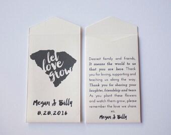 South Carolina Custom Seed Packet Wedding Favors - Many Colors Available