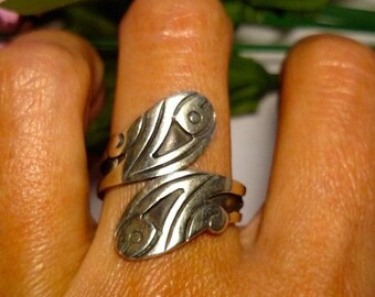 SALE TODAY Vintage Taxco Mexico Signed PF Fish Bypass Wrap Sterling Silver Ring Sz 9