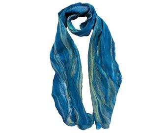 Merino / Silk Cobweb Felted Scarf - Seaside