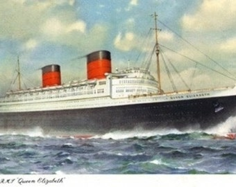 View of Cunard Ocean Liner Queen Elizabeth (Art Prints available in multiple sizes)