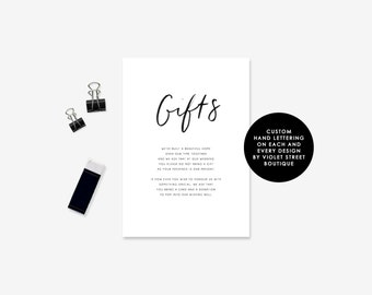 Gift Card, Modern Calligraphy, Brush Lettering, Wishing Well, Wishing Card, Minimalist Wedding, Invitations, Digital File, Black and White