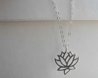 Lotus flower necklace, sterling silver necklace, sterling silver lotus flower necklace for charity
