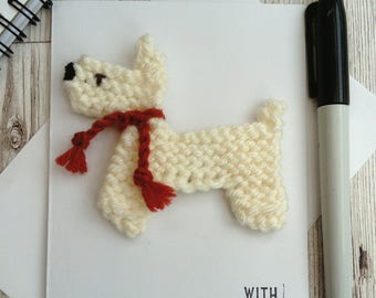 Dog birthday card, knitted dog magnet, blank greetings card,  card for dog lover,  westie card,  unique card, unusual birthday card