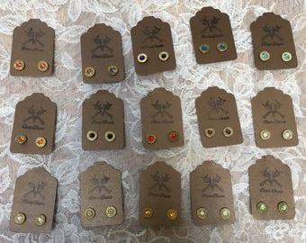 Brass Bullet Casing Stud Earrings