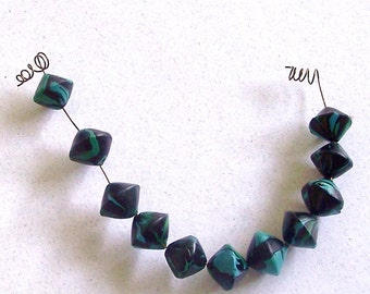 Turquoise and Black 10mm x 15mm Bicone Polymer Clay Beads Set of 11 by Carol Wilson of PollyClayDesigns