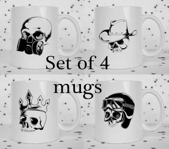 Set of 4 skull mugs