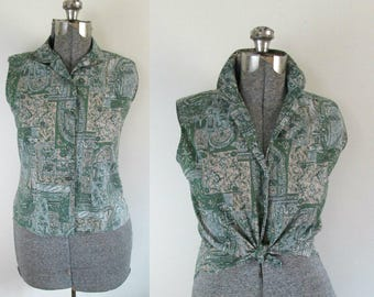 Mid Century Cotton Sleeveless Blouse Shirt Aansworth Ltd. Shirtmakers Peter Pan Fabrics