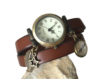 Watch charming carpe diem, leather brown 2 rounds of wrist