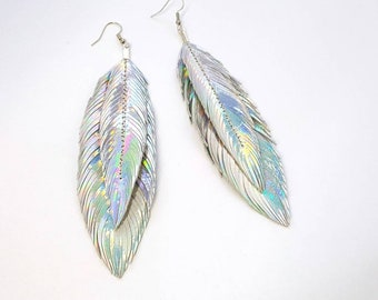 Limited - Feather Earrings - Metallic Feather Earrings - Bohemian Jewelry - Party Jewelry - Holographic Jewelry - Leather Feathers - Unicorn