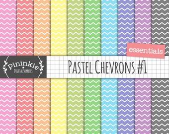 Chevron Digital Background, Pastel Digital Paper, Chevron Scrapbook Paper, Photo Background