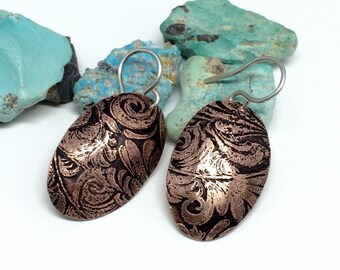 Copper Dangle Earrings, Copper Jewelry, Floral Oval Dangle Earrings, Earrings for women, western jewelry