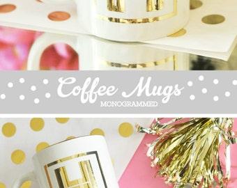 Personalized Coffee Mug Personalized Coffee Gifts for Coffee Lovers Gift Monogram Coffee Mug Gold Coffee Mug  (EB3141)