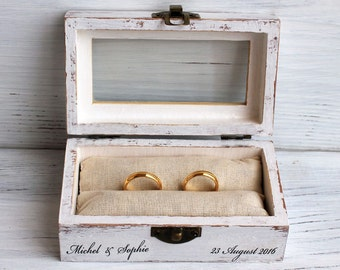 wedding ring box, decoupage box, ring bearer box, jewelry box, decoupage, wooden jewelry box, ring box, custom ring holder, personalized box