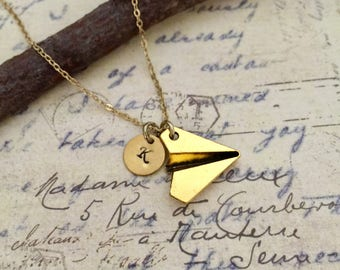 Paper Airplane Necklace, Initial Necklace, Handstamped Necklace, Best Friend Gift, Travel Necklace, Friendship Necklace