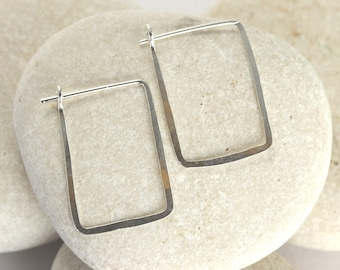 Small square silver earrings - hammered rectangle hoops in white gold or sterling silver