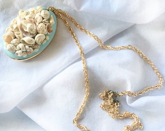 Shell Pendant Necklace Small Shells on Vintage Blue Porcelain Goldtone Chain