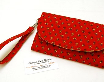 women's wallet, affordable gift, cell phone accessory, ready to ship gift, padded wallet, wristlet, red yellow wallet