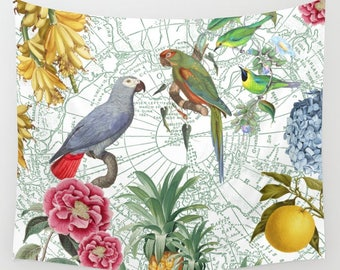 Parrot Blanket - Tropical and colorful comfy fleece throw blanket - gorgeous birds, fruits and flowers