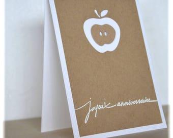 Apple happy birthday kraft card