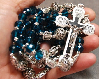 Blue Aqua Rosary Stations of the Cross Silver cable by HeartFeltRosaries  d