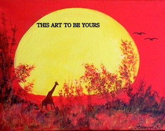 Giraffe Silhouetted Against African Sunset, original, acrylic painting on canvas. Sunset painting, yellow sunset, red sunset, blazing sunset