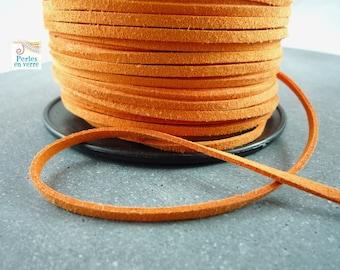 2 meters (fil22) 3mm orange suede cord