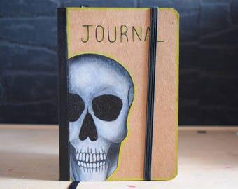 Skull notebook, handmade journal.
