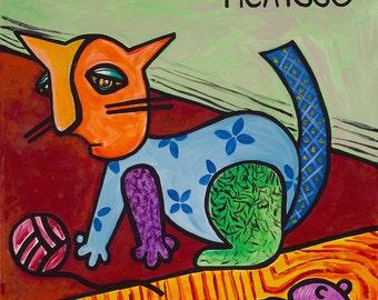Picatsso // Kitty cat Picasso pun art print