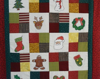 Christmas embroidery Quilt sampler PDF Pattern - primitive hand stitchery snowman candy cane santa wreath holly stocking tree star