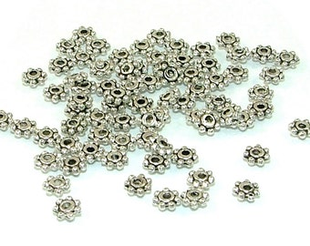 CLEARANCE - 200 Small Textural Antiqued Pewter Spacer Beads - 200 piece metal jewelry making supplies - Clearance Priced
