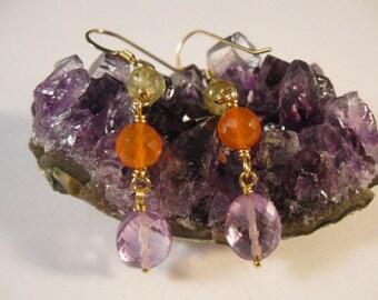 Gemstone Dangle Earrings, gemstone earrings, gold earrings, dangle earrings, Amethyst, Peridot, Carnelian, drop earrings,cascading earrings