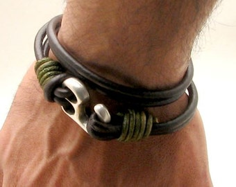 Fathers day Gift for Men, Mens leather bracelet, Leather Bracelet for Father, Mens Gift for Husband ,Gift for Anniversary Gift, Mens jewelry