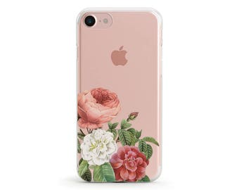 Sale 50% OFF, Peony and English Rose, Clear Soft Phone Case, iPhone 8, iPhone 7, iPhone 7 plus, iPhone 6, iPhone SE, Samsung