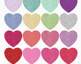 Valentine's Day Clipart Hearts Glitter Clipart Instant Digital Download