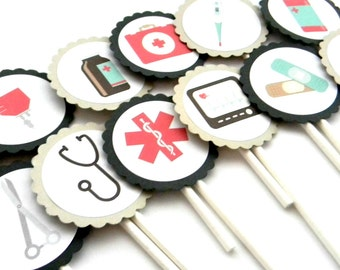 12 Medical Cupcake Toppers, Doctor Theme, Birthday Toppers, Hospital Party Decor, Nurse Party, Medical School Party, Graduation, Grad Theme