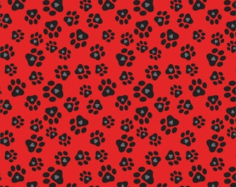"""Last Fat Quarter, Paw prints and Hearts on Red Cotton Fabric from the Must Love Dogs Collection by Studio e Fabrics 18""""x22"""""""