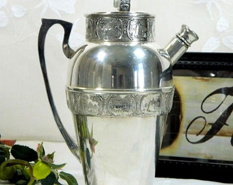 1920s Bernard Rice's Sons Apollo Silverplate Cocktail Shaker Dutchardt Pattern