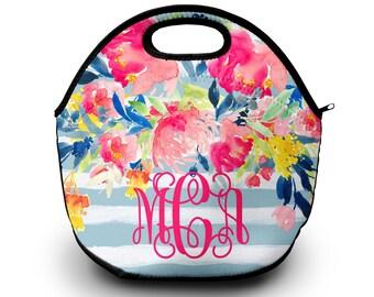 Monogram Lunch Bag   Custom Designed   Lunch Bag   Neoprene Material Lunchbox Lunch Bag for Women