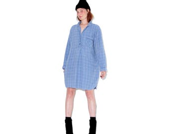 vintage 90s PLAID FLANNEL DRESS // adorable oversized shirt dress pajama dress pajama shirt dress plaid dress chambray denim color