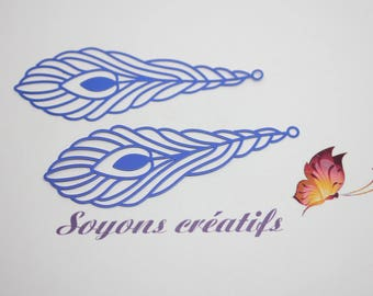 Set of 2 prints 24x68mm - making Blue feather leaf charms connectors and high quality Premium European-