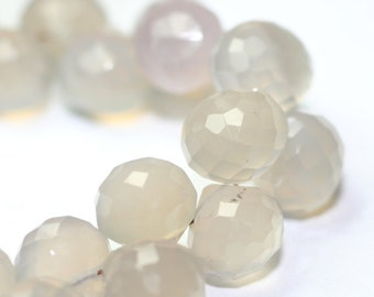 Chalcedony Micro Faceted Onion Briolettes 4 Natural Grey Semi Precious Gemstone Winter Color