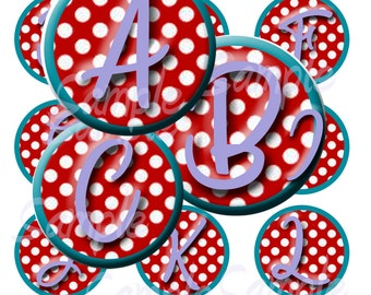 1 Inch Circle Images, Polka Dot Initials, Digital, Instant Download