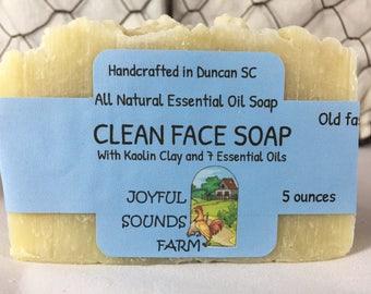 Handcrafted Clean Face Soap, essential oils of Lavender, Tea Tree, Frankincense, Geranium, Clove, Lime, Peppermint