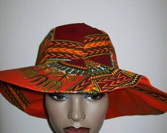 Dashiki print Wide Brim Sun Hat/Women's Sun hat/African print Sun Hat/Beach Hat