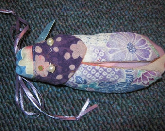 Lavender Gift Bag!- Japanese Cotton Cicada Bug Drawstring Bag in Lavenders with Pearl Eyes