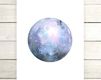 "Planet Watercolor Painting. ""Terra"" Fine Art Print. Galaxy. Decor. Giclée"