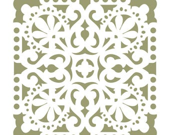Wall Stencils Damask Tile Stencil for DIY Decor Faux Reusable Template V0035