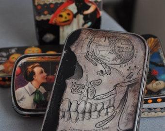 Altered Altoid Tin -- Skull Box No. 13 -- Halloween