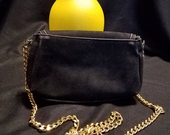 Vintage Black suede Evening Clutch Purse with Gold chain Handbag