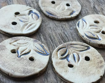 Leaves I. - set of handmade ceramic unique buttons